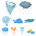 Weather set icons in cartoon style. Big collection of weather vector symbol stock illustration Royalty Free Stock Photo