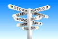 Weather signpost on blue sky background Stock Image