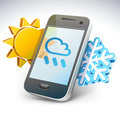 Weather on smartphone — illustration vector of screen with sun and snowflake nearby Stock Photography