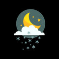 Weather snowflake night icon vector.
