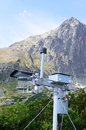 Weather station with mountain in background Royalty Free Stock Photo