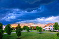 Weather storm clouds over a residential neighborhood in kentucky Stock Images