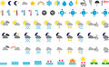 Weather symbols a collection of various icons and Stock Photography