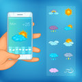 Weather symbols concept cellphone, cartoon style Royalty Free Stock Photo