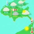 Weather symbols concept map, cartoon style Royalty Free Stock Photo