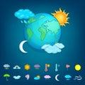 Weather symbols concept planet, cartoon style Royalty Free Stock Photo