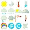Weather symbols icons set, cartoon style Royalty Free Stock Photo