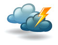 A weather with thunder illustration of on white background Stock Photography