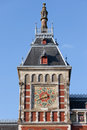 Weather vane on amsterdam central station tower a of the train showing the direction of the wind holland netherlands Royalty Free Stock Images