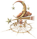 Weather vane - moon & stars Royalty Free Stock Photo