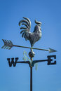 Weather vane showing direction of wind against clear blue sky, vertical Royalty Free Stock Photo