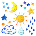 Weather watercolor set of icons. Cute smiling sun, moon, star, drops, and cloud. Royalty Free Stock Photo