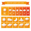 Weather widget icons set extended forecast computer and mobile vertical widgets with business collection in orange isolated vector Royalty Free Stock Photo