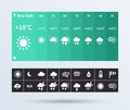 Weather widget ui set of the flat design trend beautiful components featuring vector illustration Royalty Free Stock Image