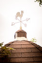 Weathercock vane on a tiled roof vertical Stock Photo