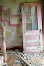 Weathered abandoned farmhouse doorway interior Stock Photo