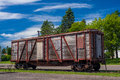 Weathered boxcar onamia a rests near the historic train depot minnesota Stock Photography