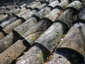 Weathered clay roof tiles Royalty Free Stock Photography