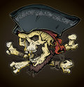 Weathered grinning pirate skull bones design Stock Photo