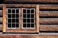 Weathered log house wall window Stock Photo