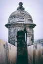 Weathered sentry box fort san felipe del morro puerto rico Stock Photos