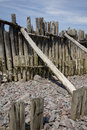 Weathered wood porlock beach a section of on somerset england Royalty Free Stock Photo