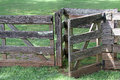 Weathered wooden fence and gate wood with open Royalty Free Stock Photography