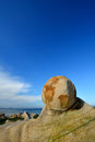 Weathering granite like a ball and decayed in featured shape at seaside in fujian south of china as featured geology landforms Stock Images