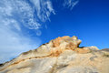Weathering granite and sky color decayed in featured shape in fujian south of china as featured geology landforms with wonderful Royalty Free Stock Photography