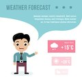Weatherman giving a weather forecast Royalty Free Stock Photo