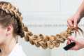 Weave braid girl in a hair salon Stock Photo