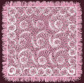 Weave lace grunge striped and swirled serviette with fringe in violet and white colors Royalty Free Stock Photo