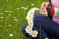 Weaving a daisy wreath Stock Photography