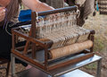 Weaving on a Vintage Loom Stock Photos