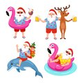 Funny collection of images with Santa, deer, dolphin and flamingo inflatable ring. Tropical Christmas. Vector illustration.