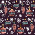 Retro vintage art beautiful artistic Scandinavian graphic lovely winter holiday new year collage pattern Christmas tree toys