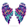 Colorful wings, sign, symbol, icon, vector illustration. Beautiful wings