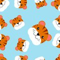 stock image of  Seamless pattern heads of tiger. Illustration of seamless pattern with animal
