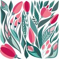 Lovely bright tender rustic folk art herbal floral spring pattern of hand drawn tulips with leaves vector