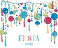 Fiesta party. Festive background with paper honeycomb, pompons, tassels, beads, garland. Design template for invitation, greeting