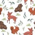 Seamless pattern with teddy bear, baby deer, squirrel, bush, flowers, leaves, berries. Cute cartoon characters. Royalty Free Stock Photo