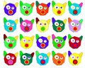 Many colourful pig or cat faces in a row