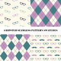 Vector set of 4 hipster seamless repeat pattern swatches.