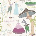 Vintage seamless pattern with bunny characters and design elements for the Easter holiday. Easter bunny, eggs, flowers, basket, mu