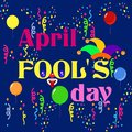 Set for the first of April with a jester and box to the fool`s day