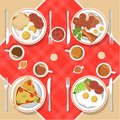Vector breakfast concept set with food and drinks with flat icons. Breakfast composition sandwich and omelette, juc