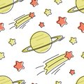 Seamless vector pattern with cartoon stars and planet