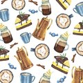 Watercolor pattern with coffee and sweets