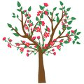 Web. Vector illustration of an abstract blossoming cherry tree isolated on a white background