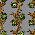 Orange berries and yellow flowers